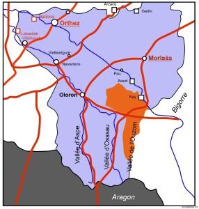Carte Béarn 1302