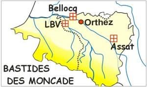 Carte Béarn vers 1280